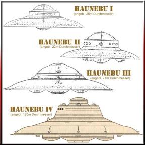 Disegni di dischi volanti nazisti modello Haunebu